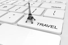 Extreme closeup Eiffel Tower on a keyboard Stock Photos