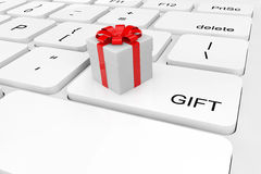 Extreme closeup gift box on a keyboard Stock Images