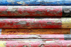 Extreme closeup image of show jumping poles stacked at the showground Stock Photography