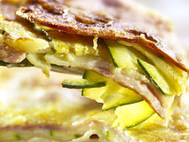 Extreme closeup of lasagna with zucchini Royalty Free Stock Photos
