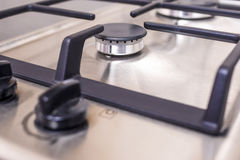 Extreme Closeup of Modern Double Burners Split Gas Oven. Stock Photography