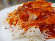 Extreme closeup rice roasted red pork with gravy. Royalty Free Stock Image