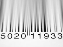 Extreme closeup shallow depth of field of a product barcode on a Royalty Free Stock Photos