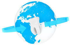 Extreme closeup tooth with globe Royalty Free Stock Images