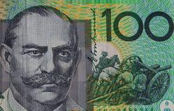 Extreme closuep of Sir John Monash portrait printed on Australia Royalty Free Stock Images