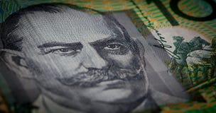 Extreme closuep of Sir John Monash portrait printed on Australia Royalty Free Stock Photo