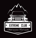 Extreme club Black mountain Rock crawlers promo logotype. Big powerful off-road vehicle and dangerous road monochrome logotype. Professional drivers community Royalty Free Illustration