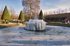 Extreme cold in germany europe. Würzburg Bavaria Germany Europe February 26 2018 is freezing in extreme cold on a sunny day Würzburg Residence is photographed Royalty Free Stock Photography