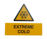 Extreme cold warning sign Royalty Free Stock Images