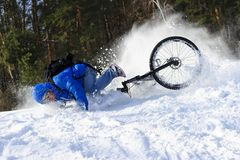 Extreme cyclist falling down royalty free stock images