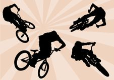 Extreme cyclists. Vector image of cyclists. Extreme sport Royalty Free Stock Images
