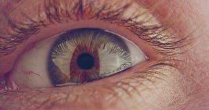 Extreme die macro van een bruin menselijk oog wordt geschoten stock footage