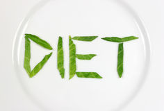 Extreme Dieting. The word diet spelt out in lettuce on a white china plate Royalty Free Stock Image