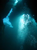 Extreme diving in abyss. Extreme diving in a cave labyrinth Stock Image