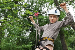 Extreme downhill on ziplines stock images