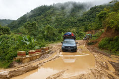 Extreme Driving Through Chin State, Myanmar Stock Photo