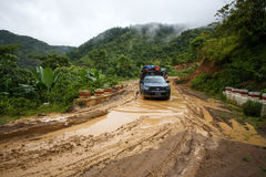 Extreme Driving Through Chin State, Myanmar Stock Photos
