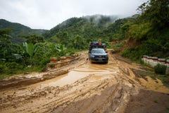 Extreme Driving Through Chin State, Myanmar Stock Photos