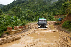 Extreme Driving Through Chin State, Myanmar Stock Images