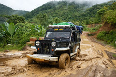 Extreme Driving Through Chin State, Myanmar Stock Image