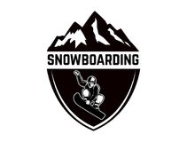 Extreme. Emblem with snowboarder. Design element for logo, label, emblem, sign. Stock Images