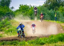 Extreme enduro MOTO SPORT Rider in the action. Uzhgorod, Ukraine - May 21, 2017: Extreme enduro MOTO SPORT Rider in the action. TransCarpathian regional Royalty Free Stock Images