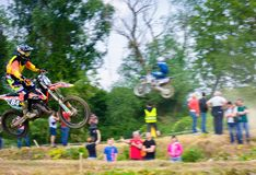 Extreme enduro MOTO SPORT Rider in the action. Uzhgorod, Ukraine - May 21, 2017: Extreme enduro MOTO SPORT Rider in the action. Motion blur with flying dirt Stock Images
