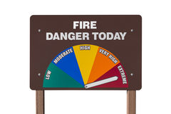 Extreme Fire Danger Today Sign Isolated Stock Image