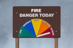 Extreme Fire Danger Today Sign with Smoke Background Royalty Free Stock Photography