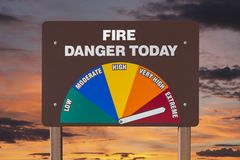 Extreme Fire Danger Today Sign with Sunrise Royalty Free Stock Photos