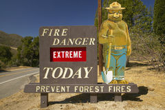 Extreme Fire Hazard proclaims Smoky the Bear near Lake Hughes California stock image