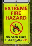 Extreme Fire Hazard Sign Stock Photography