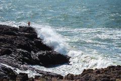 Extreme fishing Uruguay, Punta del este beach stock photo