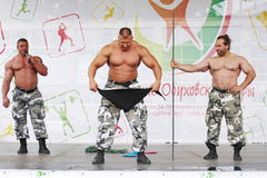 Extreme force show Russian Knights. Show bodybuilders athletes. Stock Images