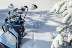 Extreme Golf in snowy forest Royalty Free Stock Image