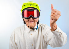 Extreme grannie showing thumbs up Stock Photos