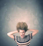 Extreme hair style young woman portrait Royalty Free Stock Photo