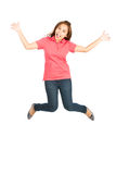 Extreme Happy Jumping Mid Air Asian Woman Spread Stock Images