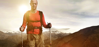 Extreme Hiking Across Rugged Mountains Concept Stock Image