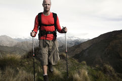 Extreme Hiking Across Rugged Mountains Royalty Free Stock Photo