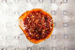 Extreme hot asian chillies garlic sauce Stock Photos