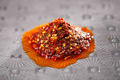 Extreme hot asian chillies garlic sauce Royalty Free Stock Image