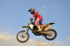 Extreme jump motocross racer Royalty Free Stock Photos