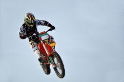 Extreme jump motocross racer Royalty Free Stock Photography