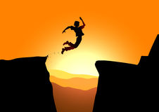 Extreme jump in mountains. Vector illustration of extreme jump against a rising sun Royalty Free Stock Photography