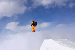 Extreme Jumping skier Stock Images
