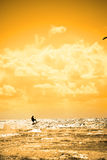 Extreme kite surfer jumping waves Royalty Free Stock Images
