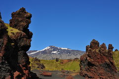 Extreme landschapsvormen in IJsland Royalty-vrije Stock Afbeeldingen
