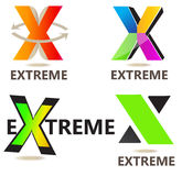 Extreme letter X logo. Extreme logo letter x design with arrows Royalty Free Stock Photography