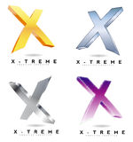 Extreme letter X logo 3D Stock Images